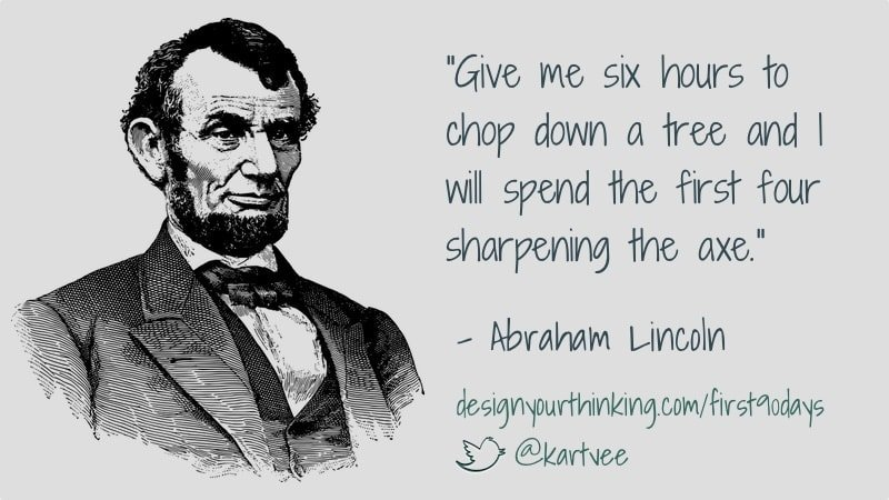 abraham lincoln on sharpening axe - first 90 days