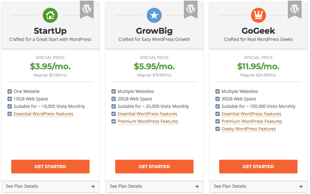 Wordpress Hosting Plan from SiteGround