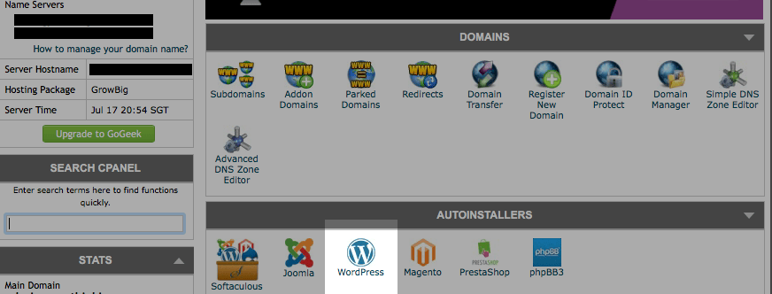 Softaculous Wordpress in SiteGround cPanel